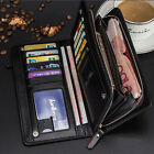 male coin purse - Men's Leather Bifold Credit Card Holder Wallet Checkbook Zip Coin Purse Clutch