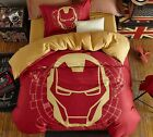 *** Iron Man Helmet Single Bed Quilt Cover Set - Flat or Fitted Sheet ***