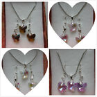 Crystal Glass Butterfly Necklace & Earrings Sets 4 Colours - Free Box