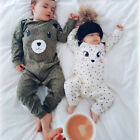 Newborn Infant Baby Boy Girl Bear Romper Jumpsuit Cotton Bodysuit Clothes Outfit