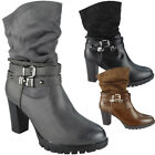 Womens Ladies Ankle Boots Strappy New Buckle Zip High Heel Party Work Shoes Size