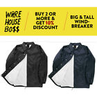 BIG AND TALL VW Snap Front Lined Windbreaker Men's Nylon Coaches Jacket