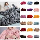Top Hot Chunky Knit Blanket Soft Wool Yarn Bulky DIY Hand Knitted Throw Colors#