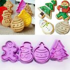 4Pcs/Set Christmas Cookie Biscuit  Plunger Cutter Mould Fondant Cake Decor Maker