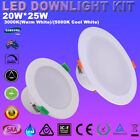 LED Downlight Kits Dimmable 20W 25W White Recessed Down Lights Warm Cool White