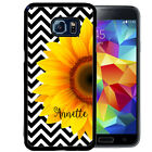 PERSONALIZED RUBBER CASE FOR SAMSUNG NOTE 8 5 4 3  BLACK CHEVRON SUNFLOWER