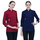 Newly Chef Coat Vintage Collar Long Sleeve Cooking Tops Kitchen Uniform For Fall