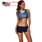 Womens Sport Swimwear Swimsuit Push Up Bra Tankini Set Ocean Sparkling Swimwear
