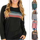 Fashion Womens Patchwork Long Sleeve T-shirt Crewneck Blouse Casual Solid Tops