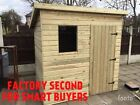 8x6 Tanalised Seconds Pent Garden Sheds Hut Treated Timber Wooden Shed T&G