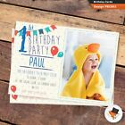 10 Personalised Photo Boys First 1st Birthday Party PHOTO Invitations Invites