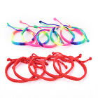 5pcs Double Layer Red Rainbow String Handmade Braided Rope Men Women Bracelet ;v