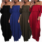 Womens Night Out Party Sexy Bandeau Fashion Dress Ladies Off Shoulder Long Dress