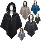 Fur Poncho Women's Jacket Ladies Top Hooded V Zip Plain Cape one size New hood