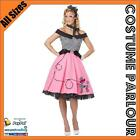 Womens 1950's Grease Rockabilly Rock N Roll Dance Fancy Dress Costume All Sizes