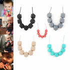 Upscale Silicone Baby Teething Necklace Teether BPA-Free Polygon Bib Beads Chain