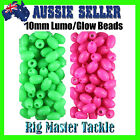 Fishing Soft Lumo/Glow Beads 200 pack 10mm x 3mm Hole Choose Pink or Green