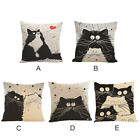 Black and white Cat Linen Cute Sofa Cushion Cover 18 Inch Pillow  Cover 45×45 cm