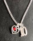 """10TH BIRTHDAY PRETTY HEART NECKLACE WITH AGE CHARM 16"""" 18"""" SILVER PLATED CHAIN"""