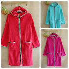 Ladies Red Pink Turquoise Thermal Coral Fleece Dressing Gowns Soft Bath Robes