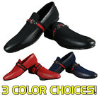 Mens ITALIAN STYLE Casual Dress Shoes Accent Strp Faux Leather Red Blue Black k9