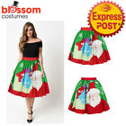 K473E Christmas Skirt High Waist Skater Retro Flared Xmas Rockabilly Vintage 50s