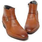 Epicsnob Mens Shoes Genuine Cow Leather Dress Formal Ankle Strap Buckle Boots