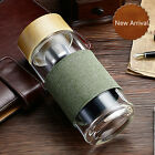 Portable BPA-Free Glass Water Bottle Tea Infuser Bottle 400ml Cup + Flax Sleeve