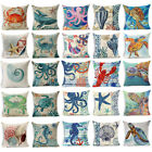 "18""Cotton Linen Ocean Creature Throw Pillow Case Fosa  Cushion Cover Home Decor image"
