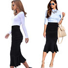 Womens Ruched High Waisted Work Cocktail Party Casual Mermaid Midi Pencil Skirt