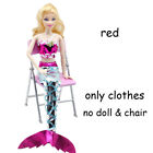 Kid Gift Dress Up Handmade for Barbie Mermaid Tail Dress Doll Clothes Party Gown