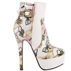 Elegant White Multicoloured Embroidered Butterfly Buckle Platform Stiletto Ankle