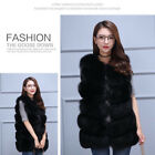 Women's Faux Fox Fur Waistcoat Jacket Warm Winter Outwear Long Slim Vest Coat