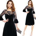 Womens Sexy Velvet Lace Bell Sleeve Patchwork Cocktail Party Flare A Line Dress