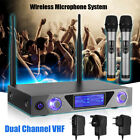 LCD Dual 2 Channel VHF Hand Held 2 Wireless Handheld Microphone Mic System Kit