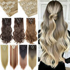 US 100% Real 8pcs 100% Natural Full Head Clip In Hair Extensions Straight Curly
