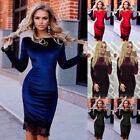 Us Women Autumn&winter Casual Lace Long Sleeve Party Evening Cocktail Mini Dress