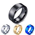 8mm Titanium Plated Wedding Band Rings (brushed Or Smooth - 5 Colours) + Pouch