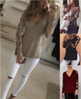 Women Long Sleeve Tops Lace Up T Shirt Loose Casual V Neck Blouse S-2XL