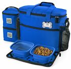 Dog Travel Bag with 2 Lined Food Carriers Placemat 2 Collapsible Bowls Blue