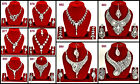 White Silver Crystal Zercon Rhinestone Party Dance 3pcs Necklace Set Christmas
