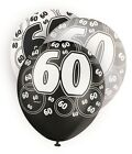 Age 60 60th Birthday Black White Party Helium Quality Latex Balloons 4-30pk