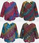 MEN Tie Dye Long Sleeve Cotton Pullover Shirt Gypsy BOHO Hippie Size L Large