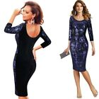 Women Elegant Sequin Flower Embroidered Velvet Formal Evening Party Sheath Dress