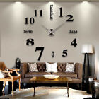Modern 3D Diy Large Wall Clock Mirror Surface Sticker Home Room Decor Art Design