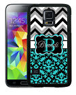 MONOGRAMMED RUBBER CASE FOR SAMSUNG NOTE 3 4 5 7 TEAL DAMASK GRAY CHEVRON