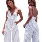 Women Camisole Stripe Backless Rompers Clubwear Party Cocktail Wide Leg Jumpsuit