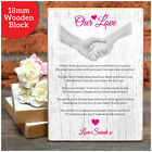 Our Love PERSONALISED Valentines Day Gifts POEM Him Her Couples Wooden Block