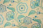 Uptown Fabric Richloom Upholstery Drapery Cimmaron Cobalt Linen Floral