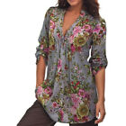 Plus Size Women Vintage Floral Print V-neck Tunic Tops Women Fashion Tops S~6XL